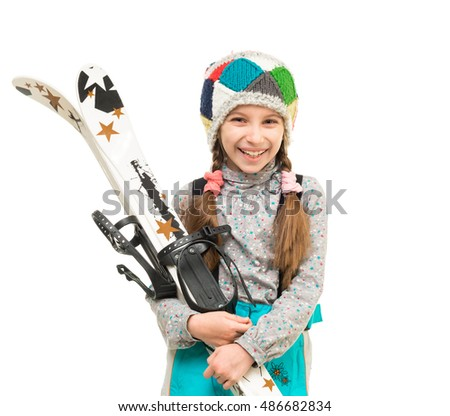 smiling little girl with skis isolated on white background