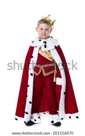 Smiling little king isolated on white background - stock photo