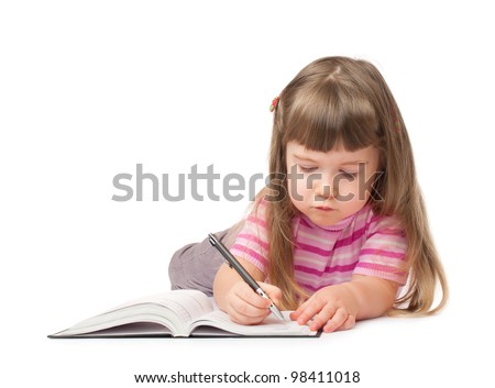 Smiling little writing girl isolated