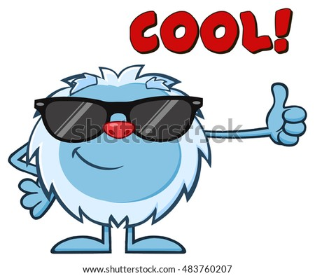 Smiling Little Yeti Cartoon Mascot Character With Sunglasses Holding A Thumb Up. Raster Illustration Isolated On White Background With Text Cool