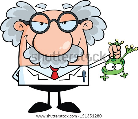 Smiling Mad Scientist Or Professor Holding A Frog. Raster Illustration - stock photo