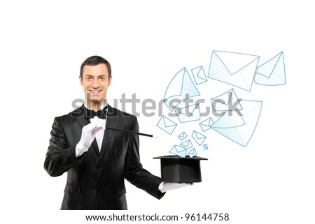 Smiling magician and mails coming out of a top hat isolated on white background - stock photo