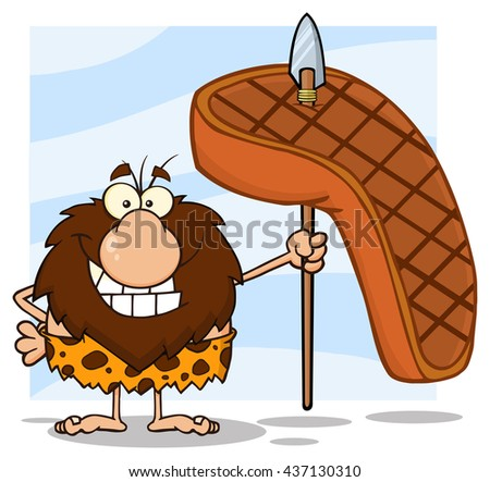 Smiling Male Caveman Hunter Cartoon Mascot Character Holding A Spear With Big Grilled Steak. Raster Illustration Isolated On White Background - stock photo