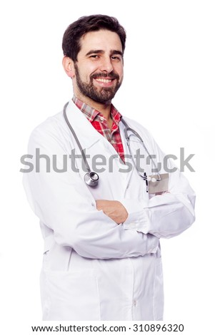 Smiling male doctor standing with arms crossed on white background - stock photo