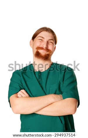 Smiling male nurse or doctor with a beard.  Isolated on white background. - stock photo