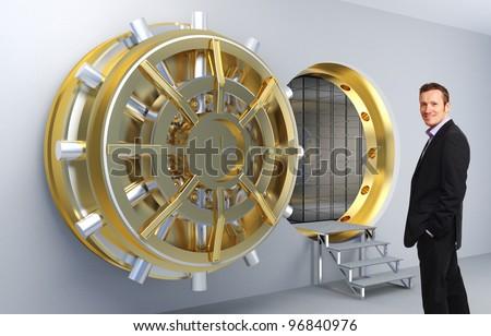 smiling man and vault door background - stock photo