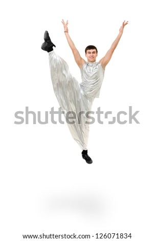 Smiling man dancer jumping on a white background - stock photo