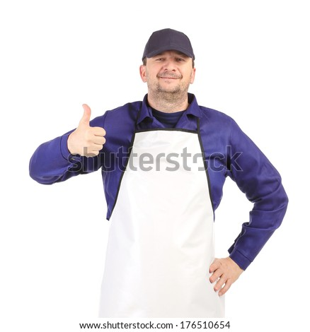 Smiling man dressed in apron. Isolated on a white background. - stock photo
