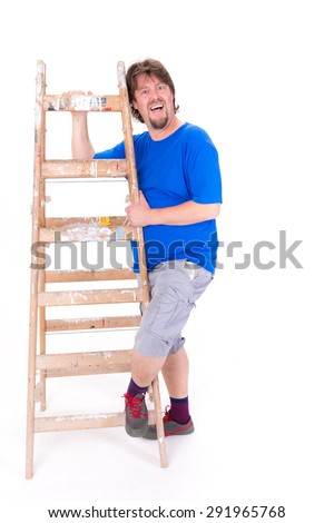 Smiling man holding a ladder isolated on a white background
