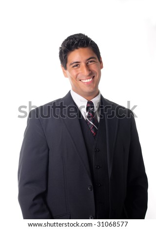 smiling man in business suit and tie - stock photo