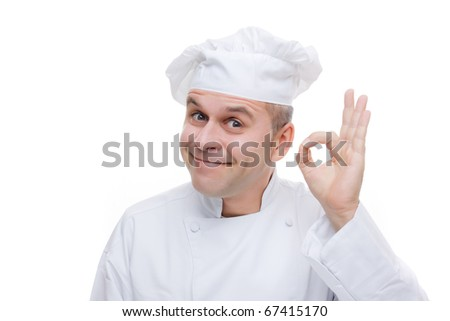 Smiling man in chef's uniform isolated on white background - stock photo