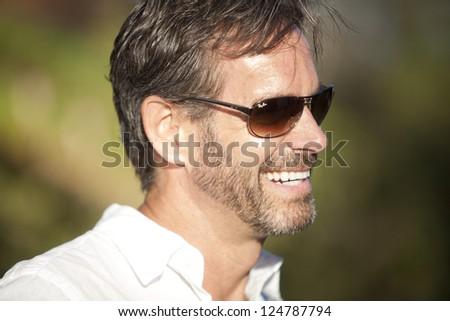 smiling man in glasses - stock photo