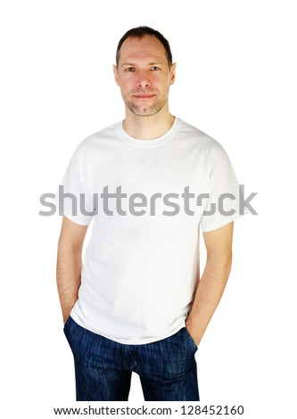 Smiling man in t-shirt isolated on white background - stock photo