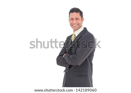 Smiling man looking at camera with a suit