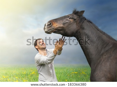 Smiling man pulls his hands to horse on summer background - stock photo