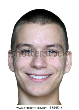 Smiling man's face over white background