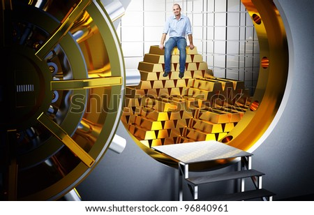 smiling man sit on pile of gold bars - stock photo