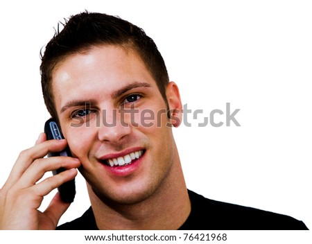Smiling man talking on a mobile phone isolated over white