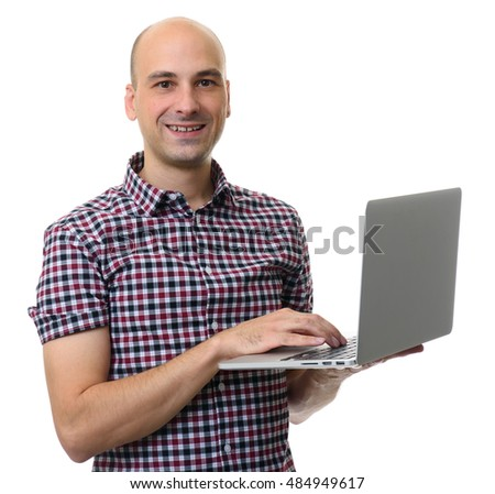 smiling man using laptop. Isolated on white background