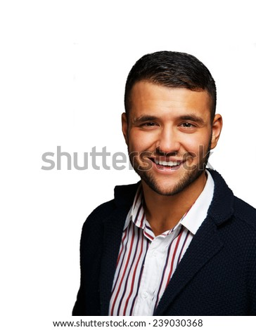 Smiling man wearing a striped shirt - stock photo