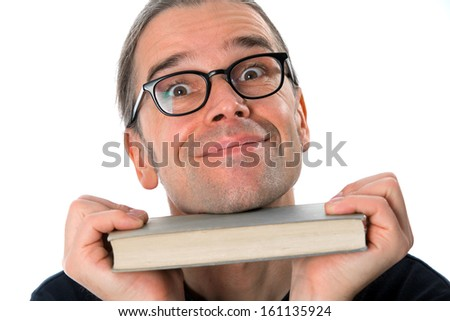 smiling man with book