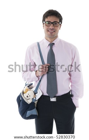 Smiling man with diaper bag