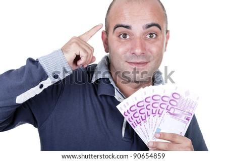 smiling man with 500 euro on white background - stock photo