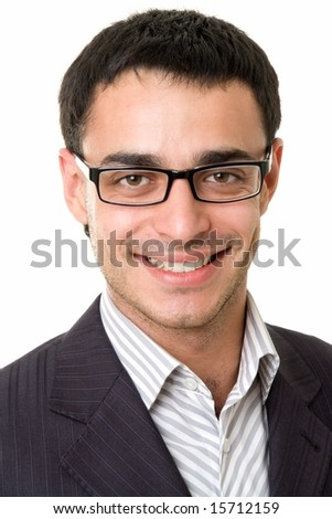 smiling man with glasses on a white background