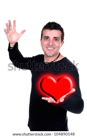 Smiling man with Valentin heart in hand isolated on white - stock photo