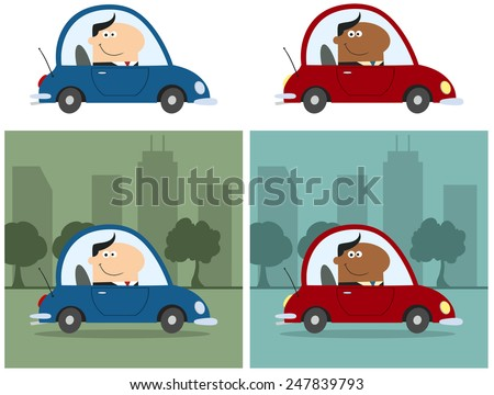 Smiling Manager Driving Car To Work In City. Flat Style Raster Collection Set