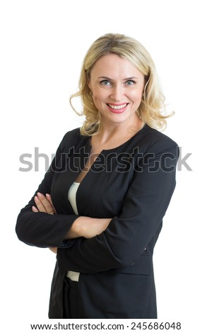 Smiling mature business woman. Isolated over white background