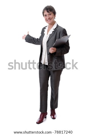 smiling mature businesswoman with notepad inviting isolated on white background - stock photo