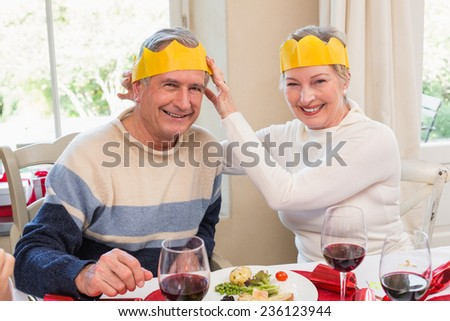 Smiling mature couple in party hat at home in the living room - stock photo