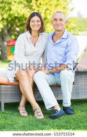 Smiling Mature Couple Outdoor - stock photo