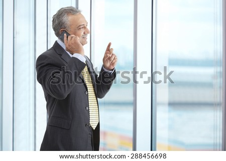 Smiling mature male executive talking on phone call - stock photo
