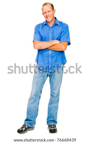 Smiling mature man posing isolated over white
