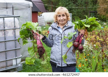Smiling mature woman holding harvest of fresh beetroot in hands