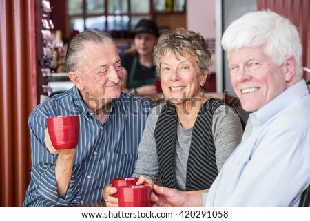 Smiling mature woman with friends in a coffee house - stock photo