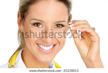 Smiling medical doctor with eyeglasses. Over white background