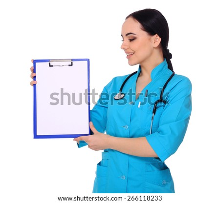 Smiling medical doctor woman show empty blank clipboard sign with copy space. Isolated over white background. Isolated over white background.