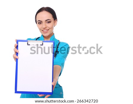 Smiling medical doctor woman show empty blank clipboard sign with copy space. Isolated over white background. Isolated over white background. - stock photo