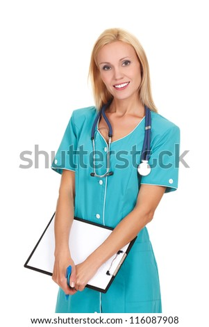 Smiling medical doctor woman with stethoscope and clipboard - stock photo
