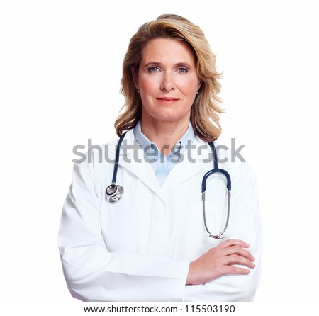 Smiling medical doctor woman with stethoscope. Isolated on white background. - stock photo