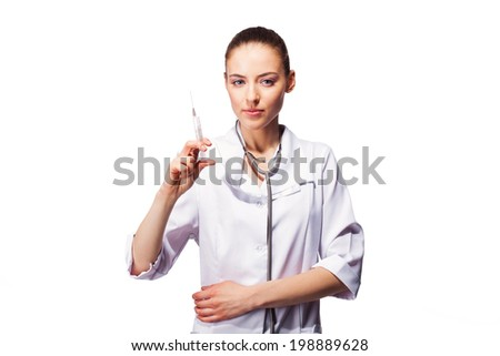 Smiling medical doctor woman with syringe. Isolated over white background. - stock photo