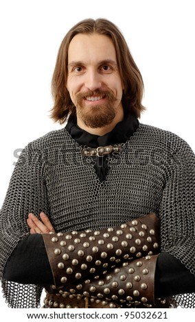 smiling medieval warrior on white background - stock photo