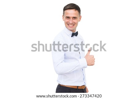 Smiling men isolated on the white background - stock photo