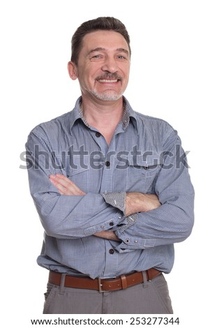 Smiling middle age man with grey shirt isolated on white background