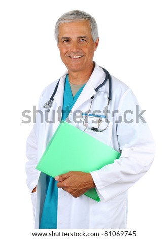 Smiling middle aged doctor holding a patients chart. Man is wearing a lab coat and scrubs with  stethoscope around his neck. Vertical format on a white background.
