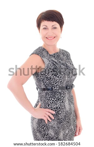 smiling middle aged woman isolated on white background - stock photo
