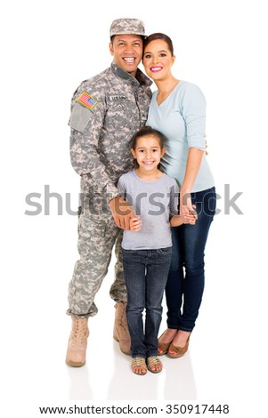 smiling military family standing together on white background - stock photo